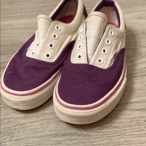 White & purple lace up vans